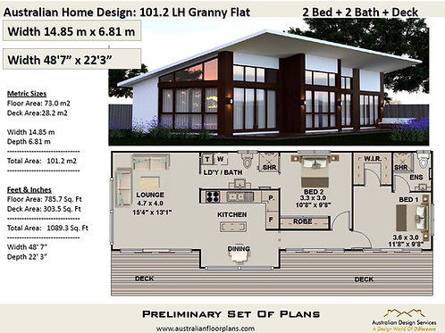 101.2GF-2 Bed + 2 Bath Granny Flat:101.2 m2 | Preliminary House Plan Set