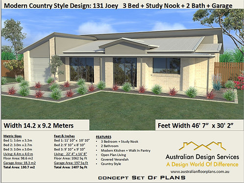 Country Style 131 Joey 3 Bed + Bath + Garage Plan | Preliminary House Plan Set