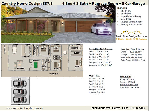Acreage House Plans 4 bedroom + Triple Car Garage: 337.5 Country