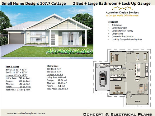 Small 2 Bed Home Design: 107.7 Cottage