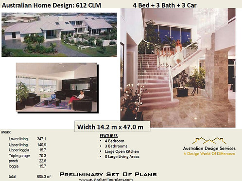 612CLM | Modern  2 Storey 4 Bed+4 Bath+3 Car:605.0 m2 | Preliminary House Plans