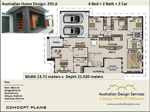 255.6 | 4 Bedroom + Home Cinema: 255.6 m2  | Preliminary House Plans