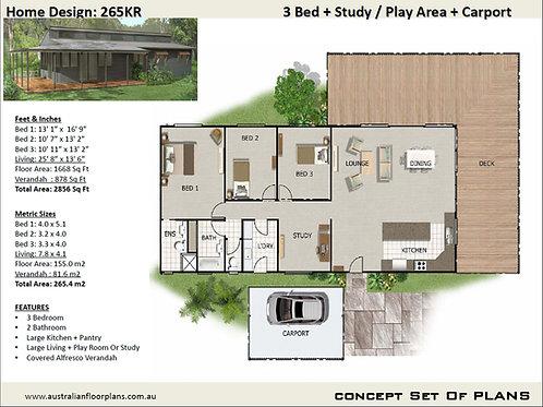Ranch House Plan:265KR