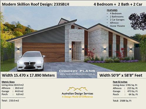 233SB- 4 Bed + Garage: 233.0 m2 2508 Sq Foot | Skillion Roof Concept House Plans