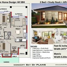 60SBH Modern Free 2 Bed House Plan Australia