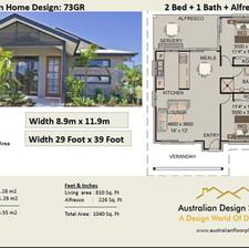 73gr Modern Free 2 Bed House Plan Australia