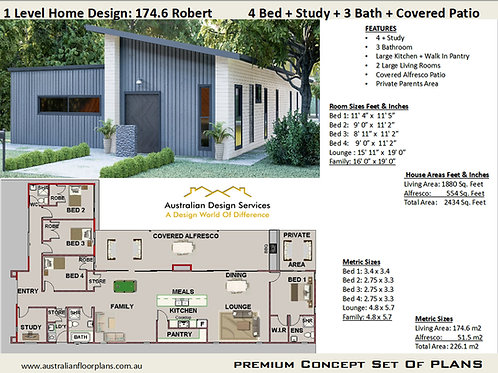 Narrow Lot 4 Bedroom Modern House Plans : 174.6 Robert