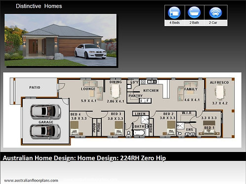 224ZeroHip-Narrow Lot 4 Bed + Garage: 231.0 m2 | Preliminary House Plan