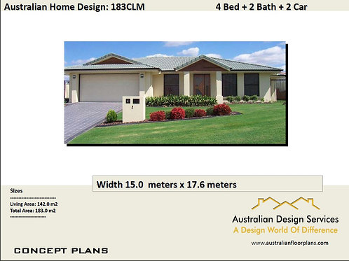 simple four bedroom house plans  |  183 CLM  House Plan Set