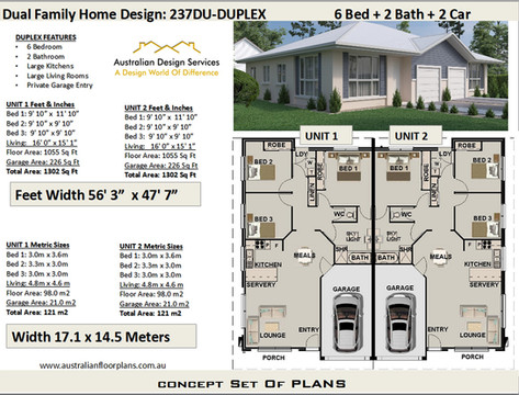 Duplex plan 237du-6 Bedroom
