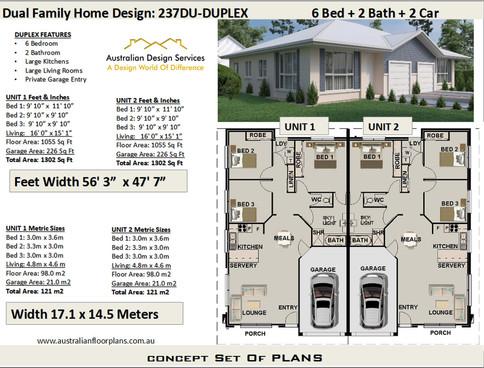 Duplex plan 237du-6 Bedroom