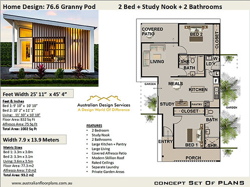 Small Home Design 2 Bed + 2 Bath House Plan:76.6 Granny | Concept House Plan Set