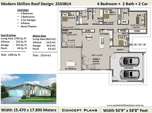 Modern  house plan 4 Bed: 233.0 m2 2508 Sq Foot |233sblhv2 Concept House Plans