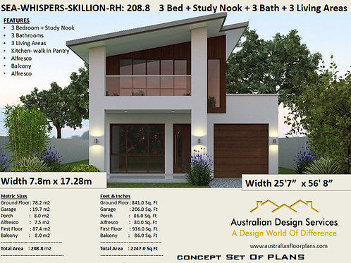 Skillion Roof Narrow Lot 2 story home design RH | Preliminary House Plans