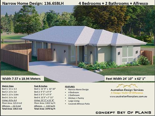 Narrow Lot House Plan: 136.6SBLH