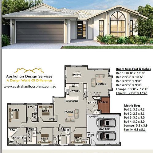 House Plans Modern 4 bedroom : 213Bayada FL