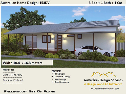 153 DV Country 3 Bedroom Floor Plan : 153.26 m2 | Preliminary House Plan Set