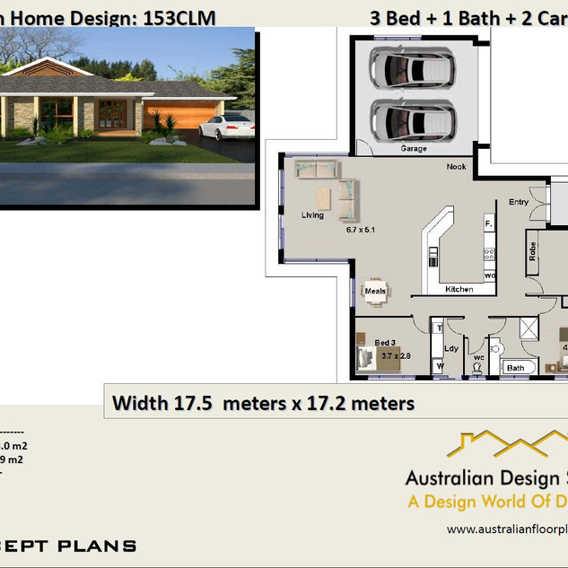 3 Bed + Double Garage House Plan153CLM