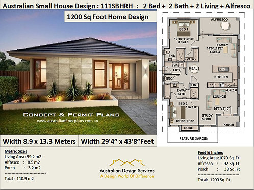 2 Bed + 2 Bath Small House Plan:111SBHRH | Concept House Plan Set