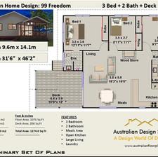 99-freedom- 3 Bed House Plan Australia