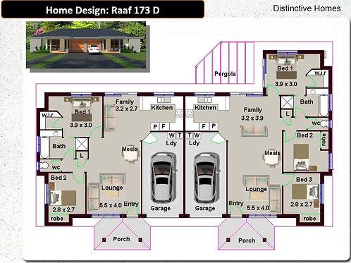 173 DU | 5 Bed + Garage:180.2 m2  |  Duplex Design Preliminary House Plan Set