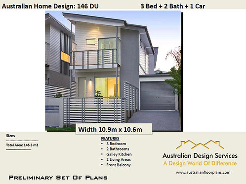 146 DU | Narrow Lot 2 Storey 3 Bed + 2 Bath :146.3 m2  | Preliminary House Plans