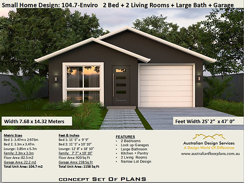 ADU / 2 Bed + Garage Small House Plan: 104.7 | Concept House Plan Set