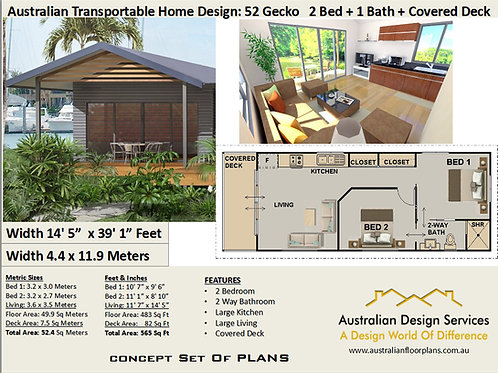 52 Gecko | 2 Bed House Plan- 52.0 m2 | Transportable House Plan Set