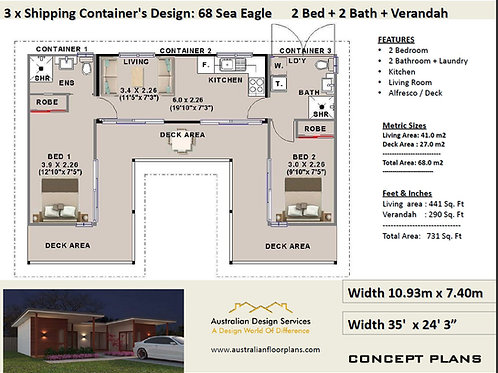 2 Bedroom Shipping Container Home Plan:68 Sea Eagle | Construction House Plans
