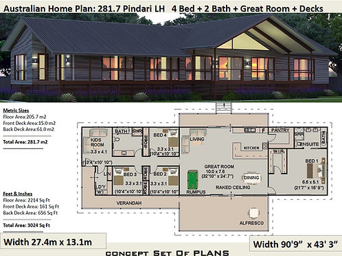 australian country homes : 281.7m2 LH Pindara Design  | Preliminary House Plans