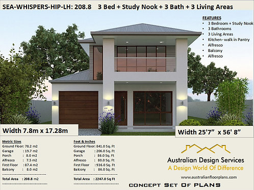 Narrow 208 m2 | 2247 sq. feet | Narrow Lot 2 story home designLH-Preliminary Ho