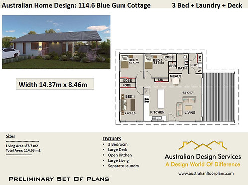 114.6 Australian 3 Bedroom Floor Plan : 114.63 m2 | Preliminary House Plans Set
