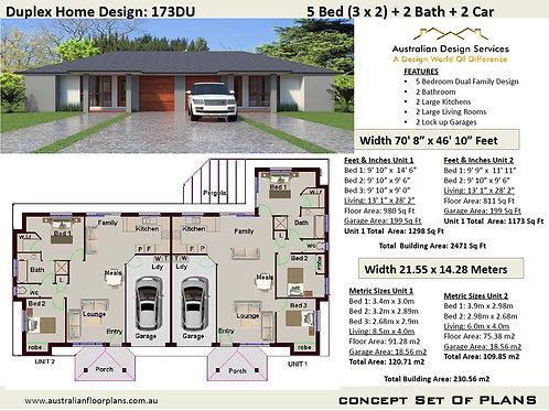 Duplex House Plan: 173DU - For Sale