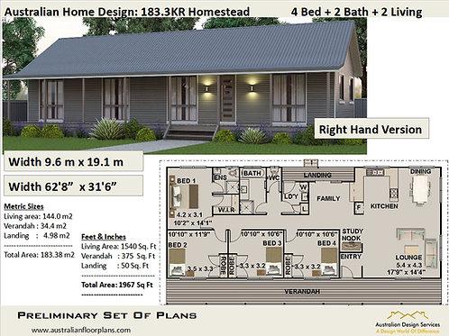 Ranch Style House Plans 4 BEDROOM !  | 183.3KRrh  House Plan