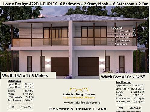 472DU 2 storey Duplex / Townhouse design | Concept House Plans