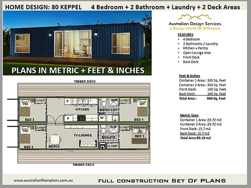 4 Bedroom 2 + 2 Bathroom Shipping Container Home plans:80 Keppel