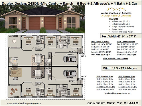 Mid Century Duplex Design 6 Bed + 4 Bath + 2 Cars Duplex House Plans :248DURANCH