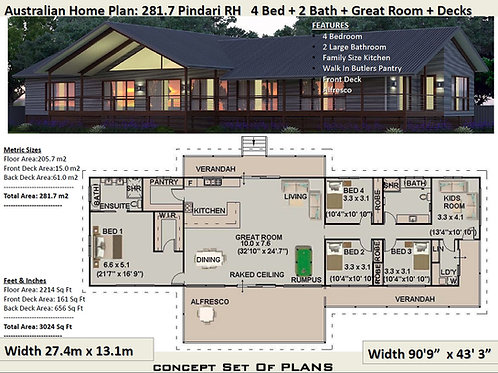 OPEN PLAN- acreage house plans 281.7m2 Pindara Design