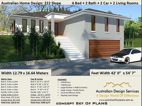 Sloping Land House Plan- Garage under | 222CLM