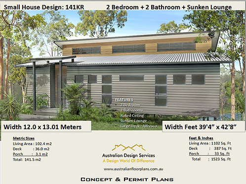 141KR-2 Bedroom Split Level House Plan:141.0 m2 | Preliminary House Plan Set