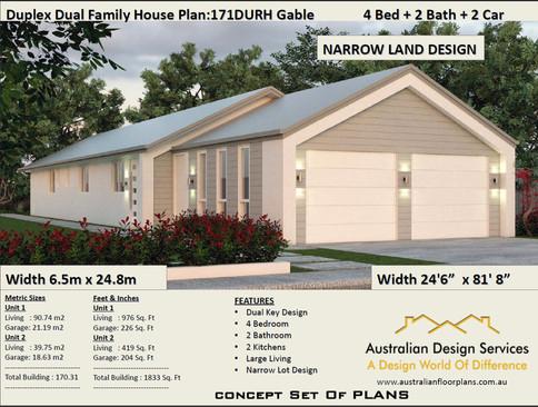 Narrow lot kit home plan