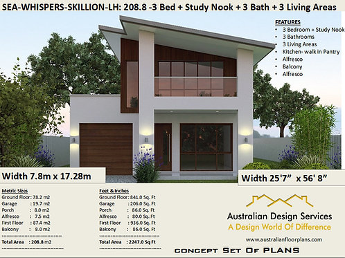 Skillion Roof Narrow Lot 2 story home design LH | Preliminary House Plan