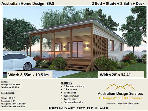89-2 Bed+Study Granny Flat Plans 89.8 m2 | Preliminary House Plan Set- Buy Here
