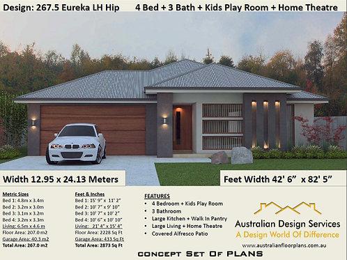 267.5SP Modern House Plan | 4 Bedroom : 267.5 m2  |  2873 Sq Feet