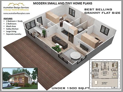 2 Bed+ 2 Bathroom Granny Flat Plans 89.8 m2