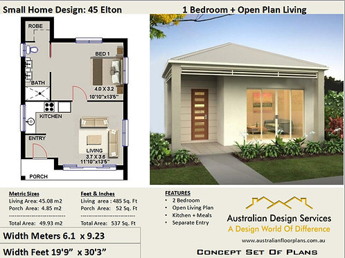 Elton 45 | Small 1 Bed House Plan- 49.9 m2 (537 Sq Foot ) House Plan Set