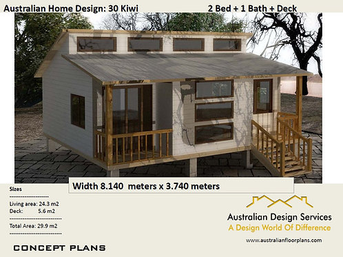 30 Kiwi | Small 2 Bed House Plan- 29.9  m2 | Preliminary House Plan Set-4 Sale