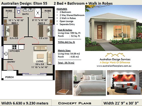 55 Elton | 2 Bed House Plan- 59.74 m2  or 642 Sq. Feet |  Concept House Plan Set