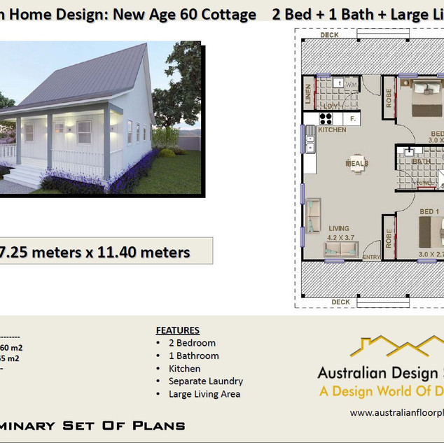 60 Cottage Free 2 Bed House Plan Australia
