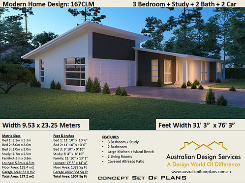 10 metre frontage house designs 3 BEDROOM !  | 167 CLM House Plan Set